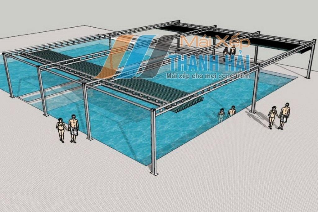 lắp đặt mái xếp di động tại hồ bơi