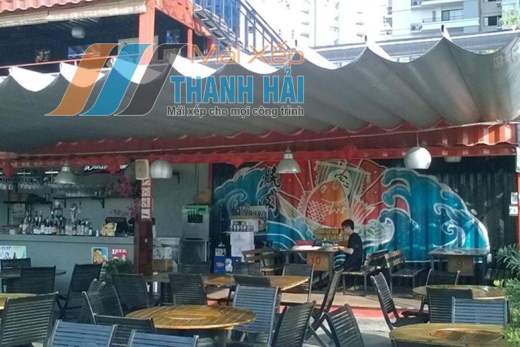 lắp đặt mái xếp quán cafe tại long an