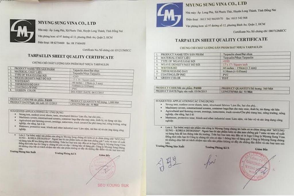 giấy chứng nhận chất lượng bạt che nắng mưa