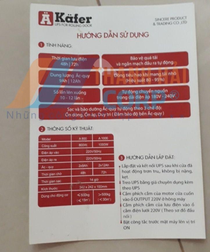 hướng dẫn sử dụng bình lưu điện kafer a800;